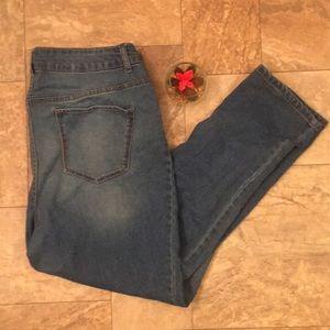 Sexy Plus Size Blue Denim Stretch Skinny Jeans